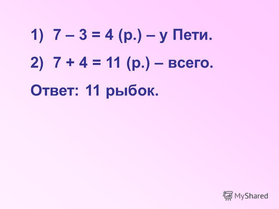 1)7 – 3 = 4 (р.) – у Пети. 2)7 + 4 = 11 (р.) – всего. Ответ: 11 рыбок.