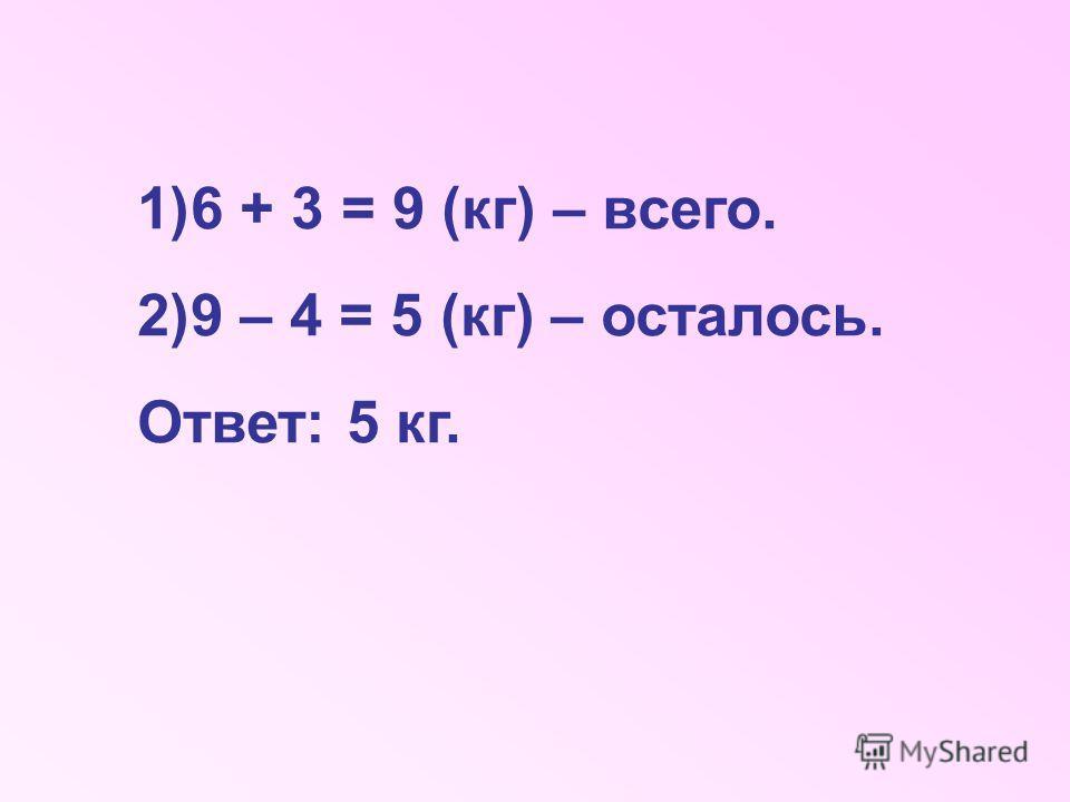 1)6 + 3 = 9 (кг) – всего. 2)9 – 4 = 5 (кг) – осталось. Ответ: 5 кг.