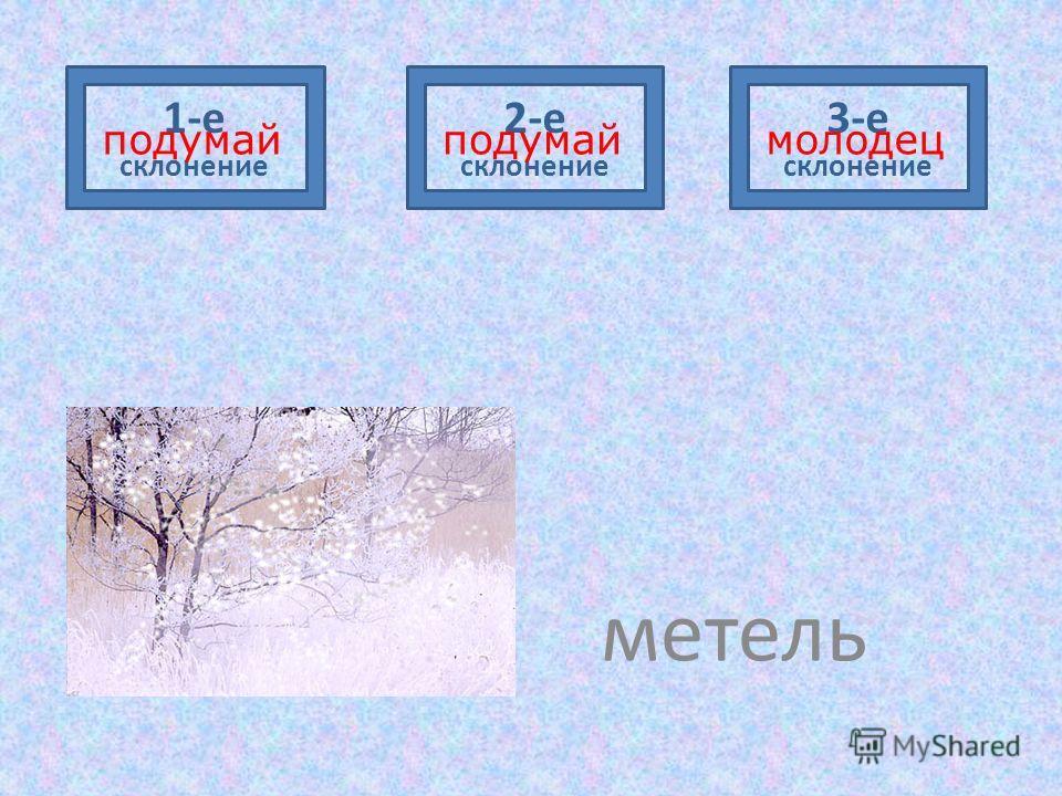 метель 1-е склонение 2-е склонение 3-е склонение подумаймолодецподумай