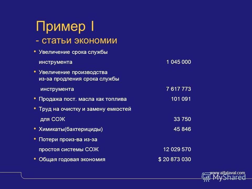 www.alfalaval.com © Alfa LavalSlide 10 Пример I - статьи экономии Увеличение срока службы инструмента1 045 000 Увеличение производства из-за продления срока службы инструмента7 617 773 Продажа пост. масла как топлива101 091 Труд на очистку и замену е