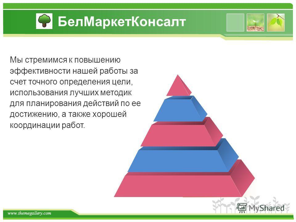 www.themegallery.com Мы стремимся к повышению эффективности нашей работы за счет точного определения цели, использования лучших методик для планирования действий по ее достижению, а также хорошей координации работ. БелМаркетКонсалт