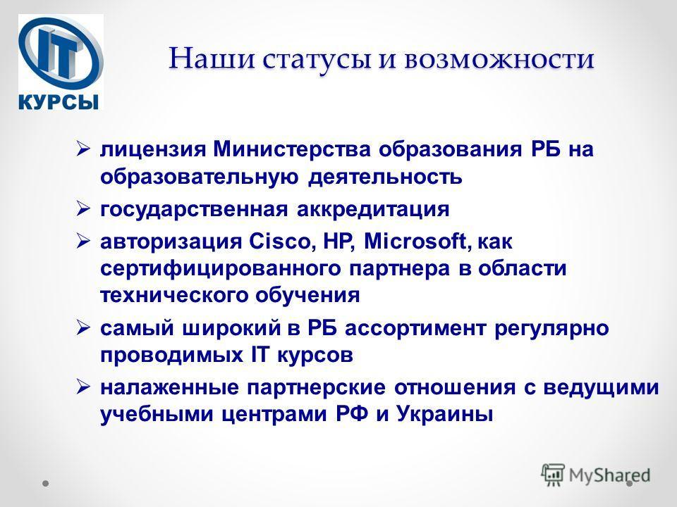 Наши статусы и возможности лицензия Министерства образования РБ на образовательную деятельность государственная аккредитация авторизация Cisco, НР, Microsoft, как сертифицированного партнера в области технического обучения самый широкий в РБ ассортим