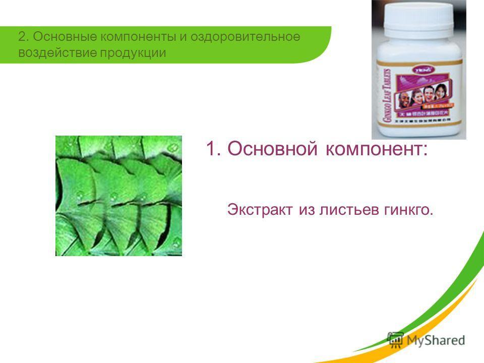 2. Основные компоненты и оздоровительное воздействие продукции 1. Основной компонент: Экстракт из листьев гинкго.