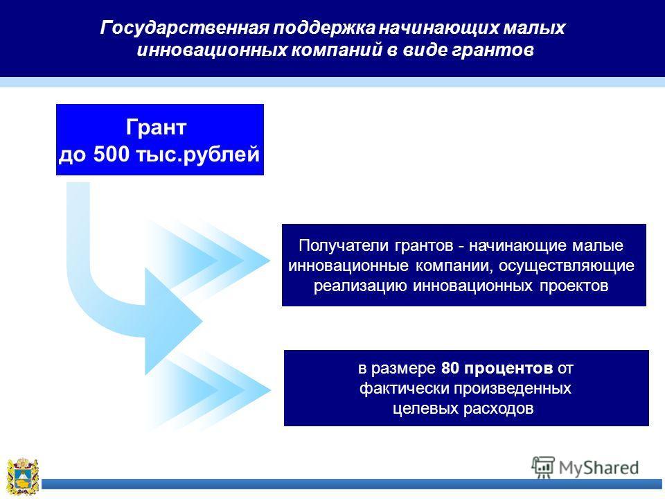 Государственная поддержка начинающих малых инновационных компаний в виде грантов Грант до 500 тыс.рублей Получатели грантов - начинающие малые инновационные компании, осуществляющие реализацию инновационных проектов в размере 80 процентов от фактичес