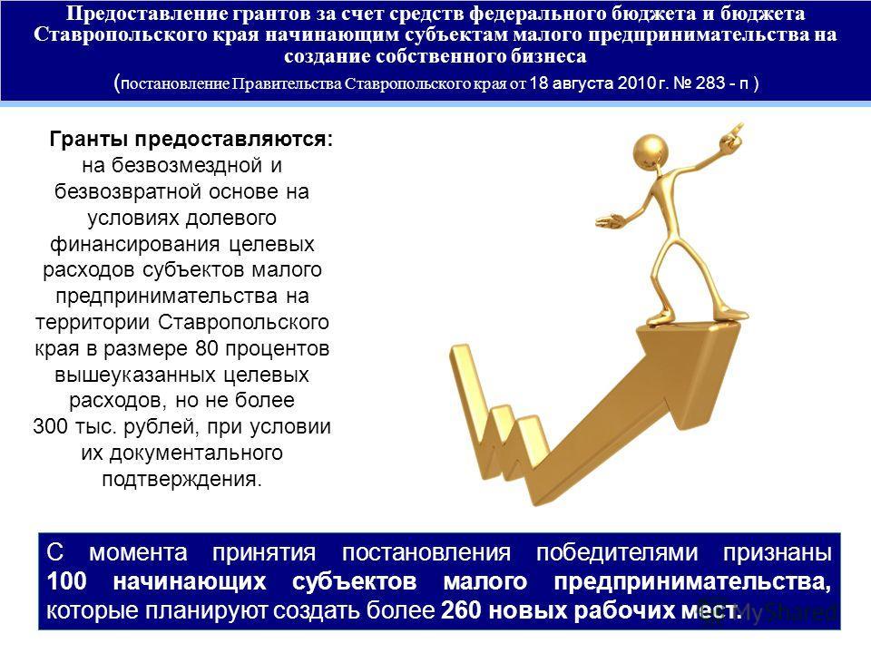 Предоставление грантов за счет средств федерального бюджета и бюджета Ставропольского края начинающим субъектам малого предпринимательства на создание собственного бизнеса ( п остановление Правительства Ставропольского края от 18 августа 2010 г. 283
