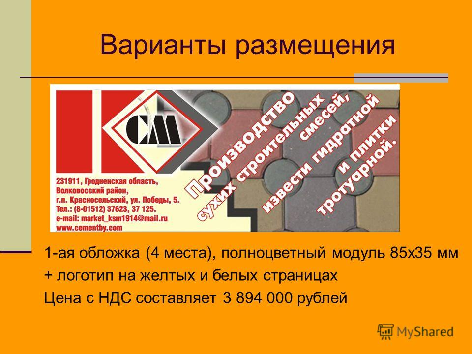 Варианты размещения 1-ая обложка (4 места), полноцветный модуль 85x35 мм + логотип на желтых и белых страницах Цена с НДС составляет 3 894 000 рублей