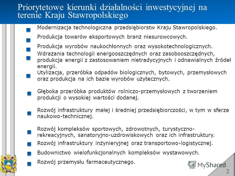 3 Priorytetowe kierunki działalności inwestycyjnej na terenie Kraju Stawropolskiego Modernizacja technologiczna przedsiębiorstw Kraju Stawropolskiego. Produkcja towarów eksportowych branż niesurowcowych. Produkcja wyrobów naukochłonnych oraz wysokote
