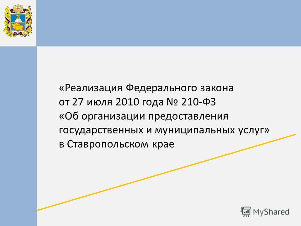 «Реализация Федерального закона от 27 июля 2010 года 210-ФЗ «Об организации предоставления государственных и муниципальных услуг» в Ставропольском крае