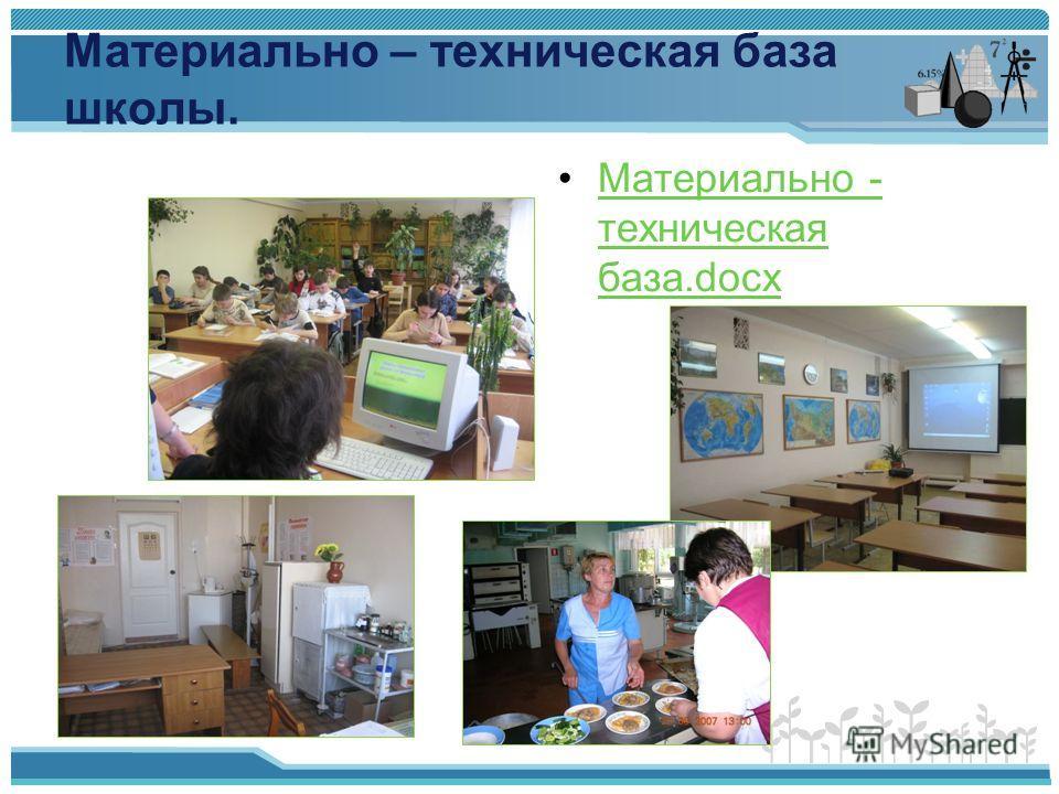 Материально – техническая база школы. Материально - техническая база.docxМатериально - техническая база.docx