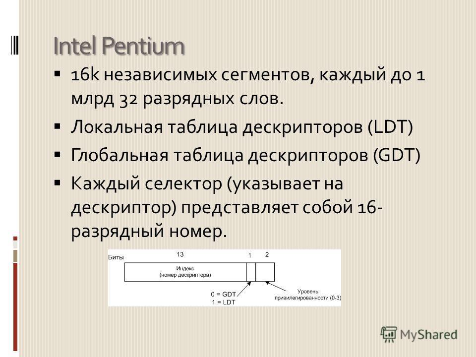 Intel Pentium 16k независимых сегментов, каждый до 1 млрд 32 разрядных слов. Локальная таблица дескрипторов (LDT) Глобальная таблица дескрипторов (GDT) Каждый селектор (указывает на дескриптор) представляет собой 16- разрядный номер.