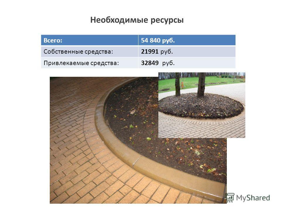 Необходимые ресурсы Всего:54 840 руб. Собственные средства:21991 руб. Привлекаемые средства:32849 руб.