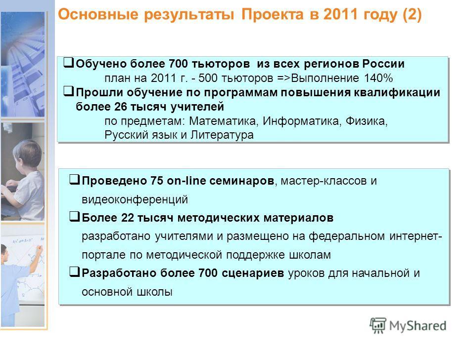 Основные результаты Проекта в 2011 году (1)