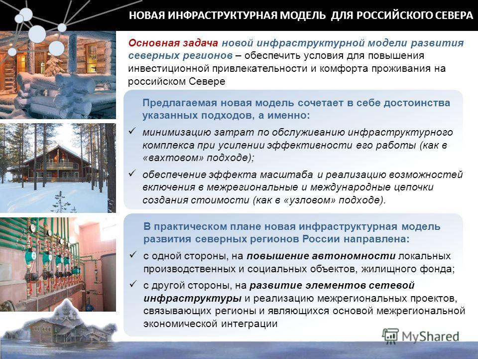 НОВАЯ ИНФРАСТРУКТУРНАЯ МОДЕЛЬ ДЛЯ РОССИЙСКОГО СЕВЕРА Основная задача новой инфраструктурной модели развития северных регионов – обеспечить условия для повышения инвестиционной привлекательности и комфорта проживания на российском Севере Предлагаемая