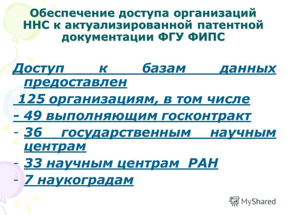 Обеспечение доступа организаций ННС к актуализированной патентной документации ФГУ ФИПС Доступ к базам данных предоставлен 125 организациям, в том числе - 49 выполняющим госконтракт -36 государственным научным центрам -33 научным центрам РАН -7 науко
