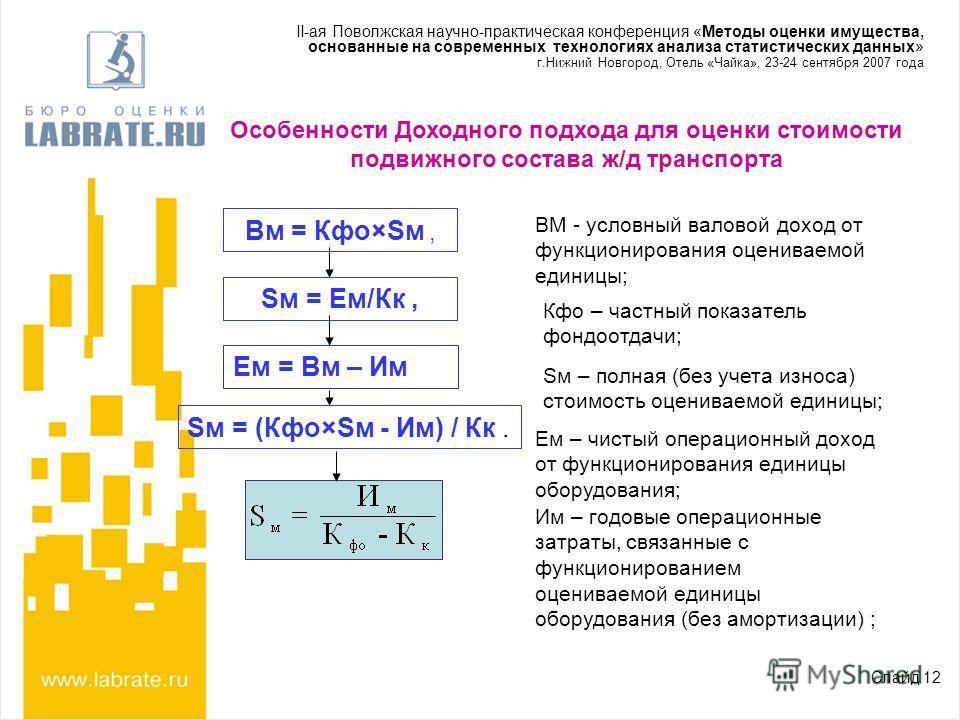 Особенности Доходного подхода для оценки стоимости подвижного состава ж/д транспорта Слайд 12 Вм = Кфо×Sм, Sм = Eм/Кк, Ем = Вм – Им Sм = (Кфо×Sм - Им) / Кк. ВМ - условный валовой доход от функционирования оцениваемой единицы; Кфо – частный показатель