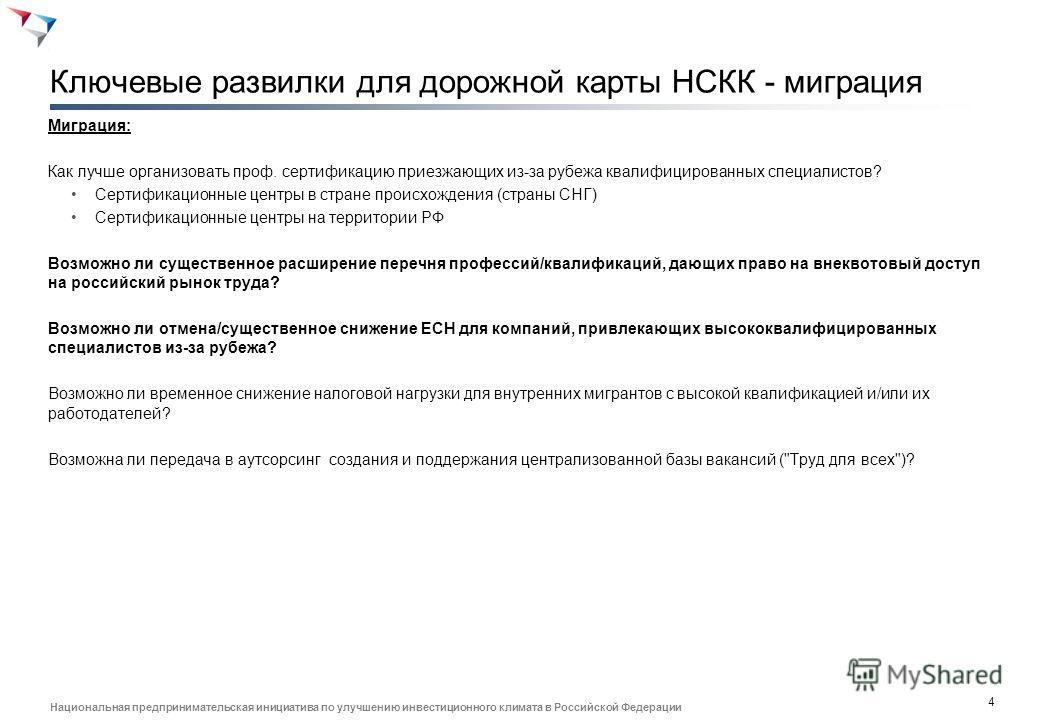 3 Национальная предпринимательская инициатива по улучшению инвестиционного климата в Российской Федерации Ключевые развилки для дорожной карты НСКК - сертификация Сертификация: Кто должен осуществлять сертификацию компетенций? Образовательные учрежде