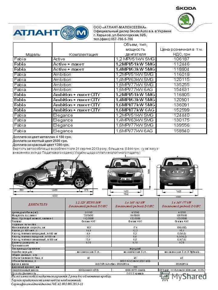 860 4000 2465675 1433 1642 1498 1886 1426 На всі автомобілі надається гарантія 2 роки без обмеження пробігу. Термін придатності автомобіля необмежений. Сертифікат відповідності UA1.003.0052853-11 ООО «АТЛАНТ-М АЛЕКСЕЕВКА» Официальный дилер Skoda Auto