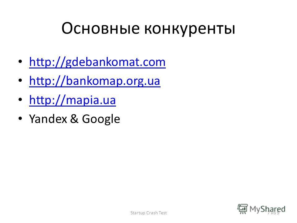Основные конкуренты http://gdebankomat.com http://bankomap.org.ua http://mapia.ua Yandex & Google Startup Crash Test7 из 9