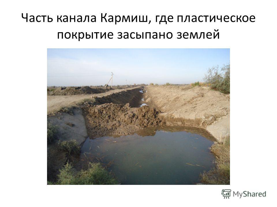 Часть канала Кармиш, где пластическое покрытие засыпано землей