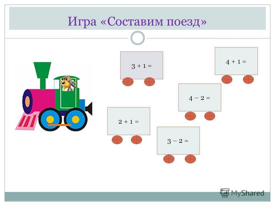Игра «Составим поезд» 4 + 1 = 3 + 1 = 3 – 2 = 4 – 2 = 2 + 1 =
