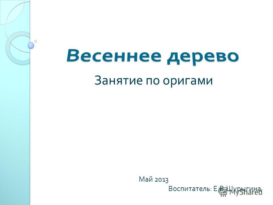 Занятие по оригами Май 2013 Воспитатель : Е. В. Шурыгина