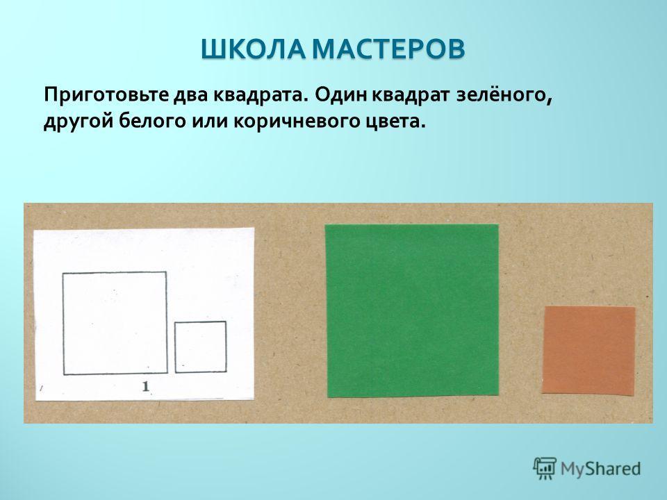 ШКОЛА МАСТЕРОВ Приготовьте два квадрата. Один квадрат зелёного, другой белого или коричневого цвета.