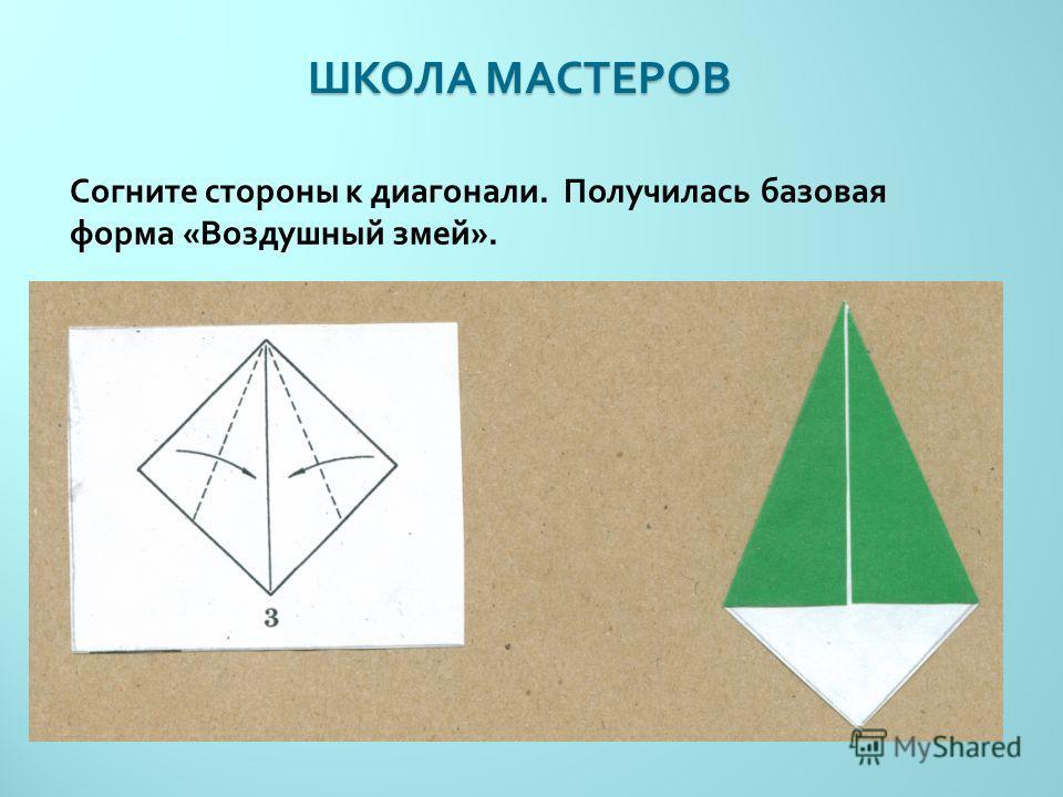 ШКОЛА МАСТЕРОВ Согните стороны к диагонали. Получилась базовая форма « Воздушный змей ».
