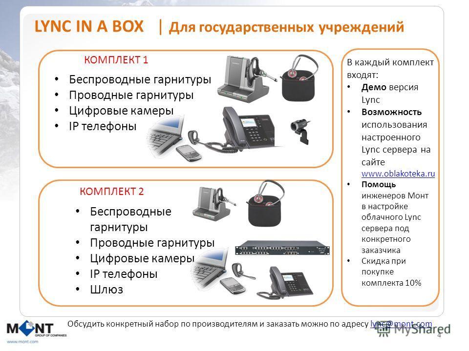 4 LYNC IN A BOX | Для государственных учреждений Беспроводные гарнитуры Проводные гарнитуры Цифровые камеры IP телефоны Беспроводные гарнитуры Проводные гарнитуры Цифровые камеры IP телефоны Шлюз КОМПЛЕКТ 1 КОМПЛЕКТ 2 В каждый комплект входят: Демо в
