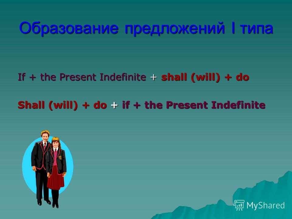 Образование предложений I типа If + the Present Indefinite + shall (will) + do Shall (will) + do + if + the Present Indefinite