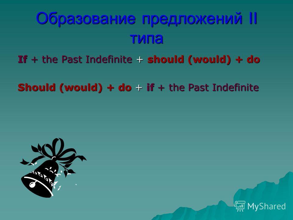 Образование предложений II типа If + the Past Indefinite + should (would) + do Should (would) + do + if + the Past Indefinite
