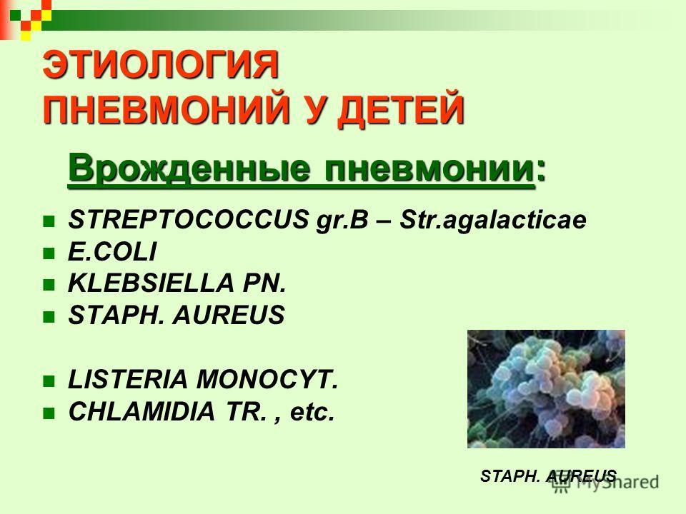 ЭТИОЛОГИЯ ПНЕВМОНИЙ У ДЕТЕЙ Врожденные пневмонии: STREPTOCOCCUS gr.B – Str.agalacticae E.COLI KLEBSIELLA PN. STAPH. AUREUS LISTERIA MONOCYT. CHLAMIDIA TR., etc. STAPH. AUREUS