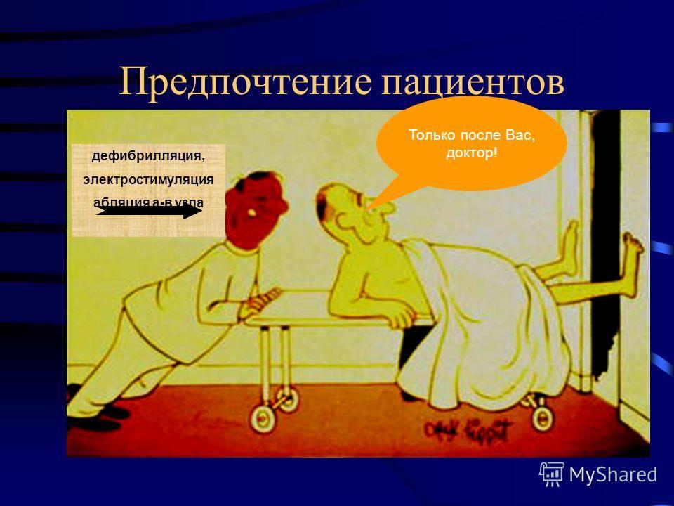 Предпочтение пациентов дефибрилляция, электростимуляция абляция а-в узла Только после Вас, доктор!