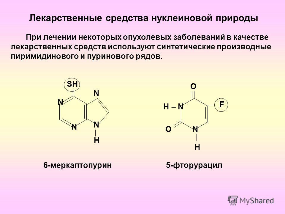 Лекарственные средства нуклеиновой природы N N N N H SHSH О N H H N О F При лечении некоторых опухолевых заболеваний в качестве лекарственных средств используют синтетические производные пиримидинового и пуринового рядов. 6-меркаптопурин5-фторурацил