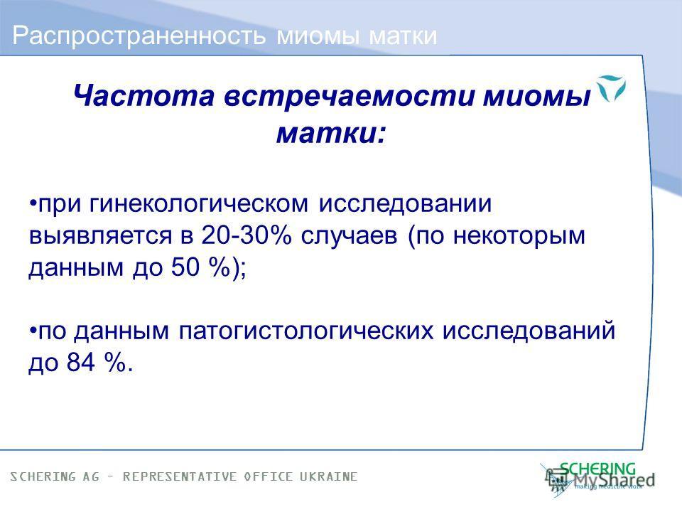SCHERING AG – REPRESENTATIVE OFFICE UKRAINE Принципы лечения миомы матки