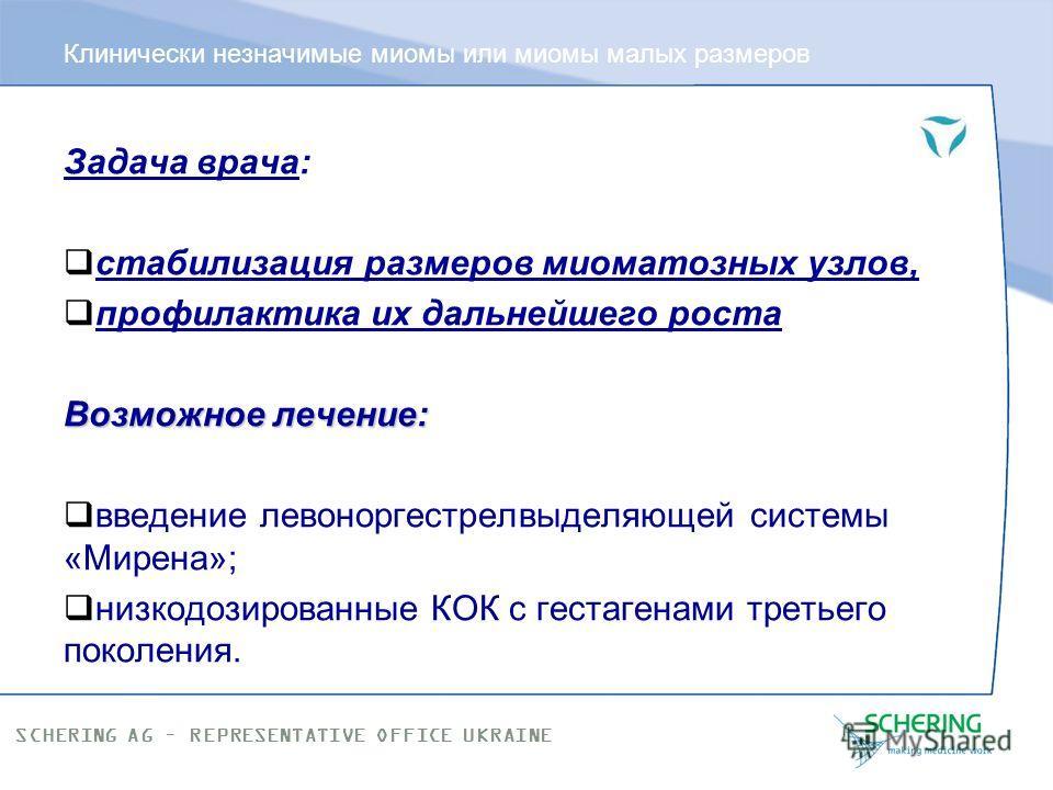SCHERING AG – REPRESENTATIVE OFFICE UKRAINE Клинически незначимые миомы или миомы малых размеров Это миоматозные узлы размером до 15 мм. Диагностируются только при УЗсканировании. Как правило, не дают клинической симптоматики. С патогенетической точк
