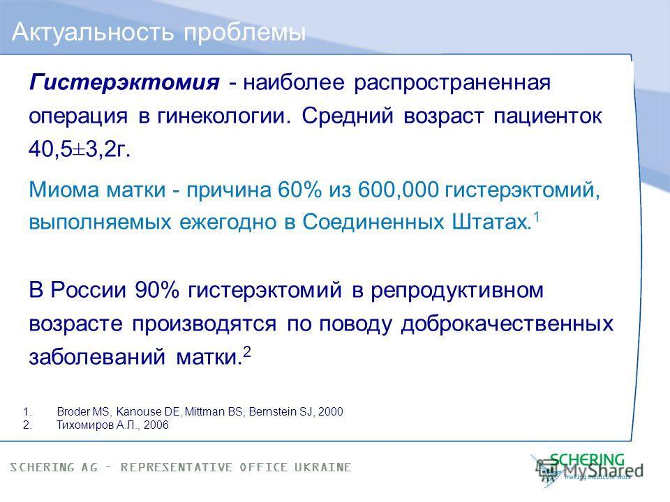SCHERING AG – REPRESENTATIVE OFFICE UKRAINE Частота встречаемости миомы матки: при гинекологическом исследовании выявляется в 20-30% случаев (по некоторым данным до 50 %); по данным патогистологических исследований до 84 %. Распространенность миомы м
