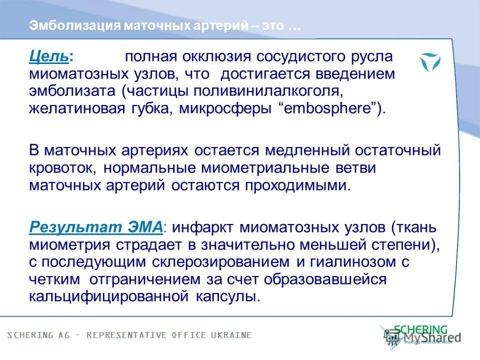 SCHERING AG – REPRESENTATIVE OFFICE UKRAINE Множественная миома матки со средним размером доминантного узла К этой группе относятся матки, содержащие множество миоматозных узлов, при этом размер доминантного миоматозного узла не должен превышать 6 см