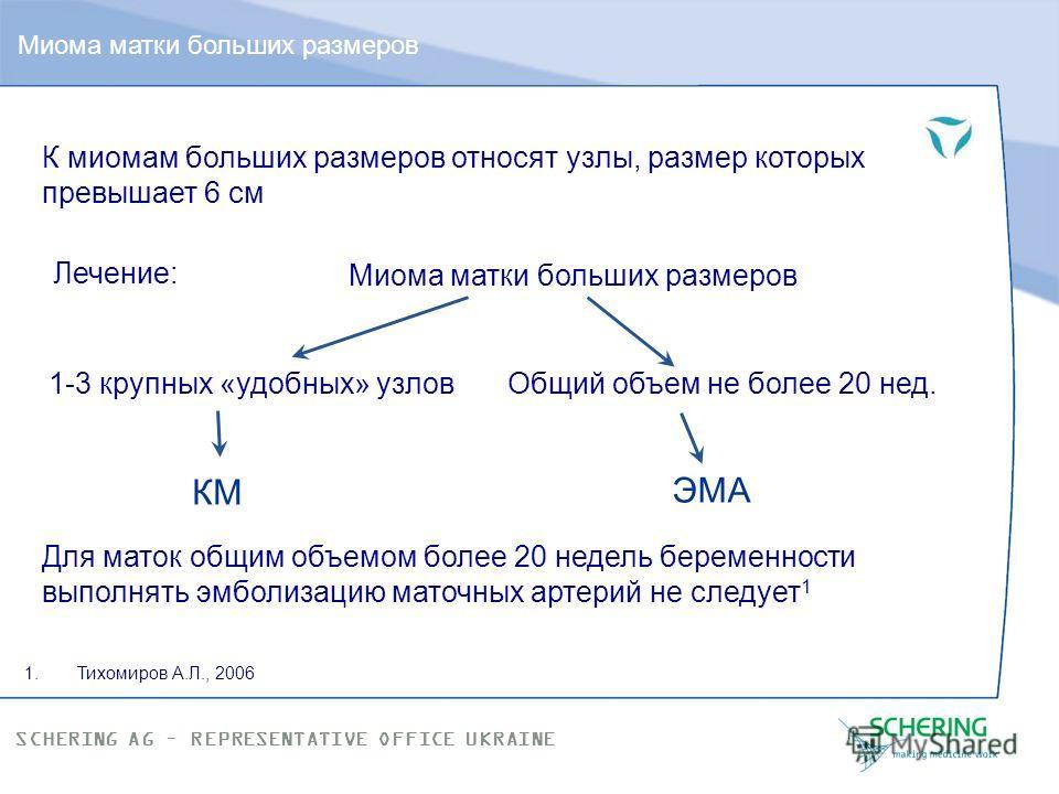 SCHERING AG – REPRESENTATIVE OFFICE UKRAINE Эмболизация маточных артерий – это … «Постэмболический синдром»: астенизация, субфебрилитет, умеренные боли внизу живота (7-10 дней – НПВС, обильное питье, соблюдение ограничительного режима) Самая лучшая р