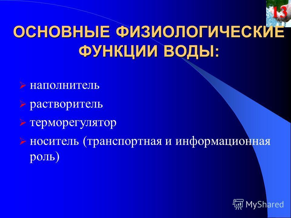 ОСНОВНЫЕ ФИЗИОЛОГИЧЕСКИЕ ФУНКЦИИ ВОДЫ: наполнитель растворитель терморегулятор носитель (транспортная и информационная роль)13
