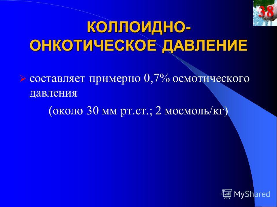 КОЛЛОИДНО- ОНКОТИЧЕСКОЕ ДАВЛЕНИЕ cоставляет примерно 0,7% осмотического давления (около 30 мм рт.ст.; 2 мосмоль/кг)38