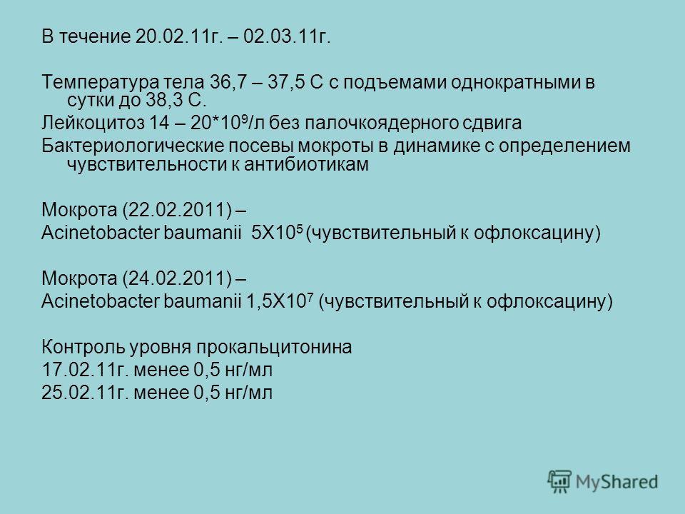 В течение 20.02.11г. – 02.03.11г. Температура тела 36,7 – 37,5 С с подъемами однократными в сутки до 38,3 С. Лейкоцитоз 14 – 20*10 9 /л без палочкоядерного сдвига Бактериологические посевы мокроты в динамике с определением чувствительности к антибиот