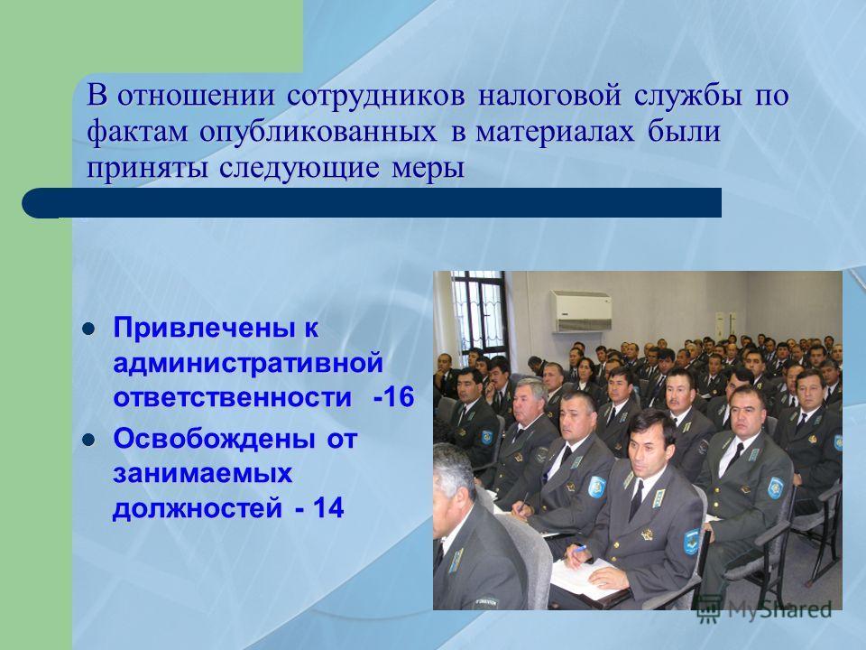 В отношении сотрудников налоговой службы по фактам опубликованных в материалах были приняты следующие меры Привлечены Привлечены к административной ответственности -16 Освобождены Освобождены от занимаемых должностей - 14