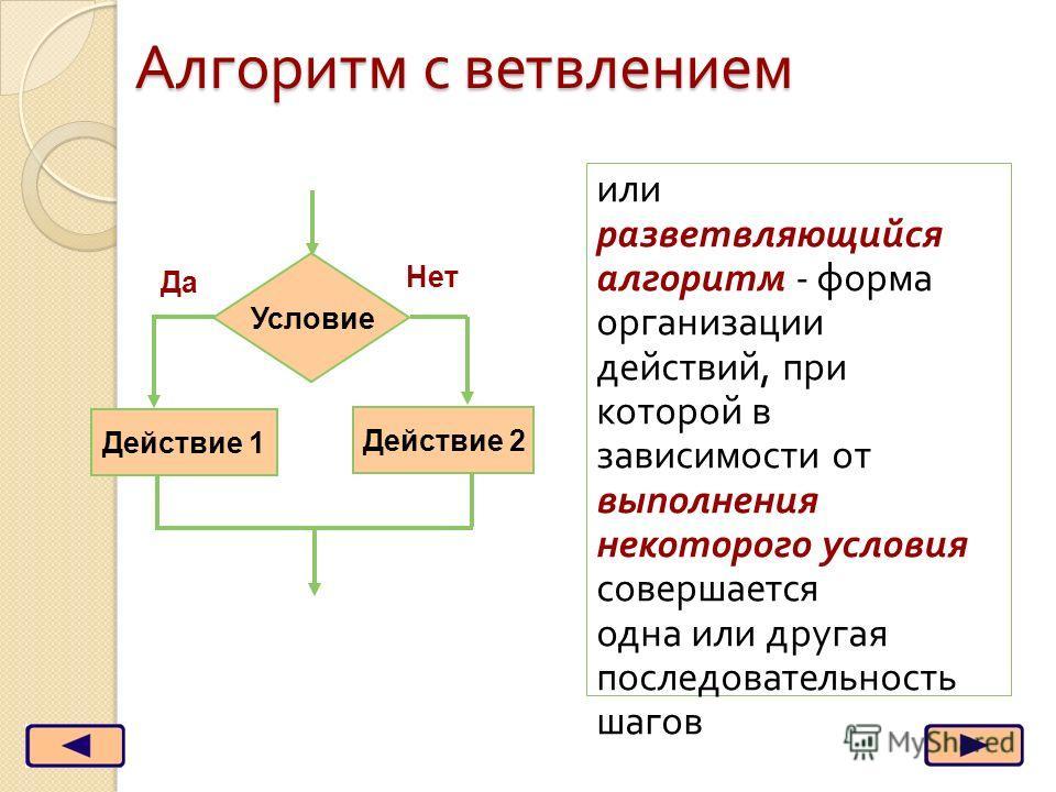 Алгоритм с ветвлением или разветвляющийся алгоритм - форма организации действий, при которой в зависимости от выполнения некоторого условия совершается одна или другая последовательность шагов Условие Действие 2 Действие 1 Да Нет