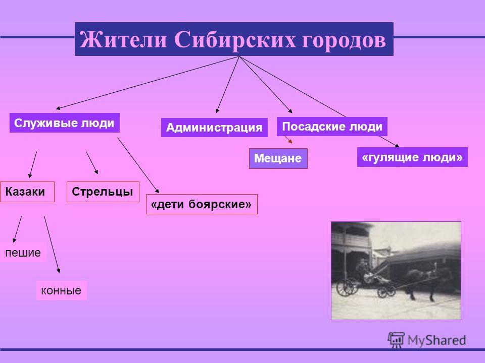 Жители Сибирских городов Служивые люди КазакиСтрельцы пешие конные «дети боярские» Администрация Посадские люди «гулящие люди» Мещане