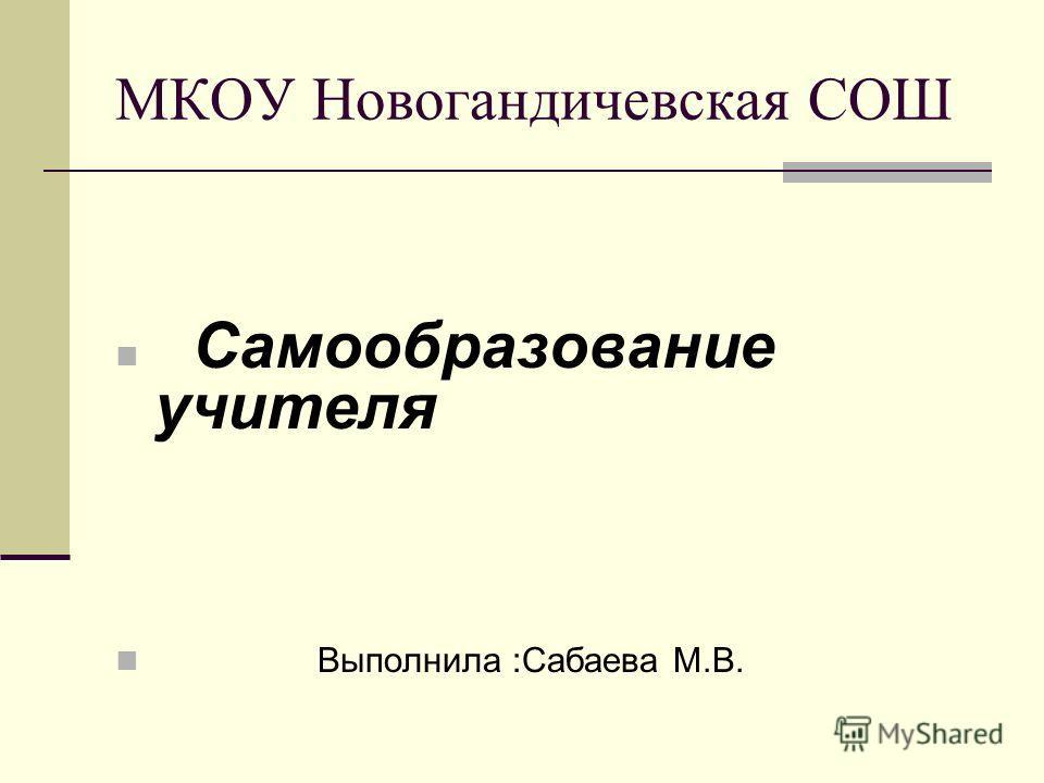 МКОУ Новогандичевская СОШ Самообразование учителя Выполнила :Сабаева М.В.