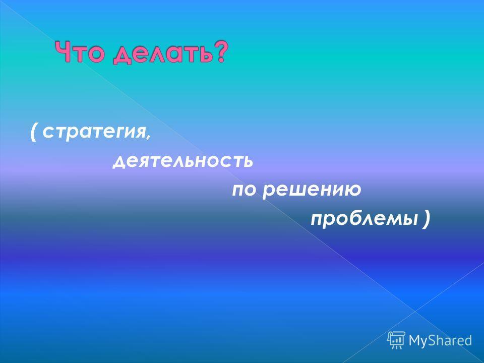 ( стратегия, деятельность по решению проблемы )