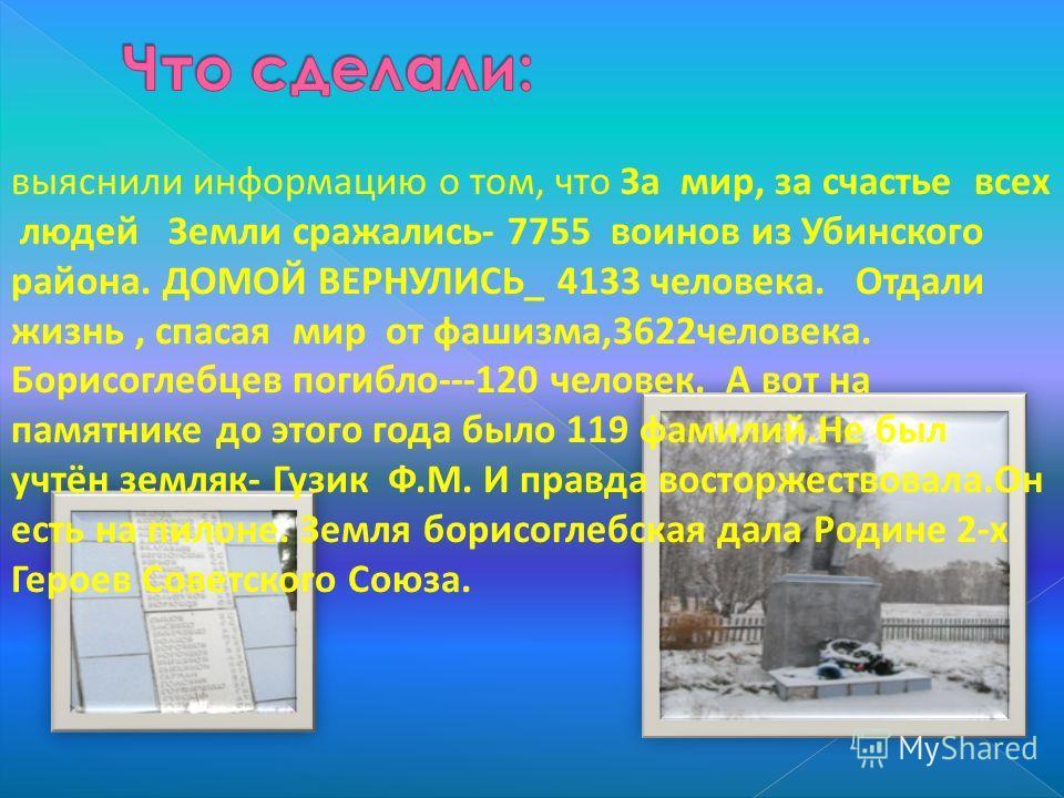 выяснили информацию о том, что За мир, за счастье всех людей Земли сражались- 7755 воинов из Убинского района. ДОМОЙ ВЕРНУЛИСЬ_ 4133 человека. Отдали жизнь, спасая мир от фашизма,3622человека. Борисоглебцев погибло---120 человек. А вот на памятнике д