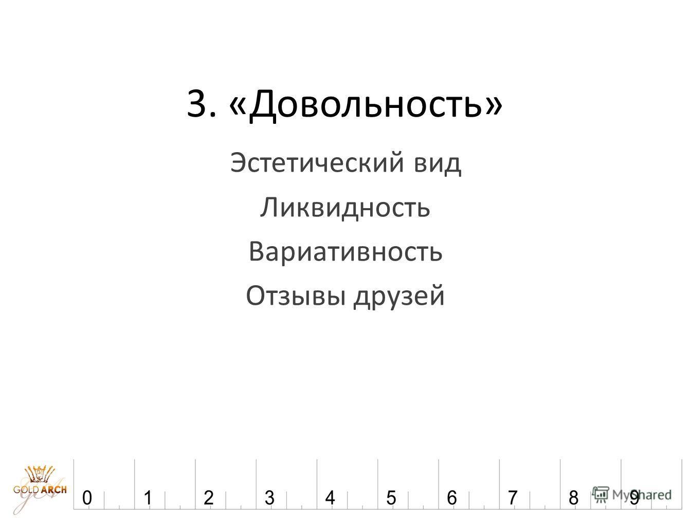 3. «Довольность» Эстетический вид Ликвидность Вариативность Отзывы друзей