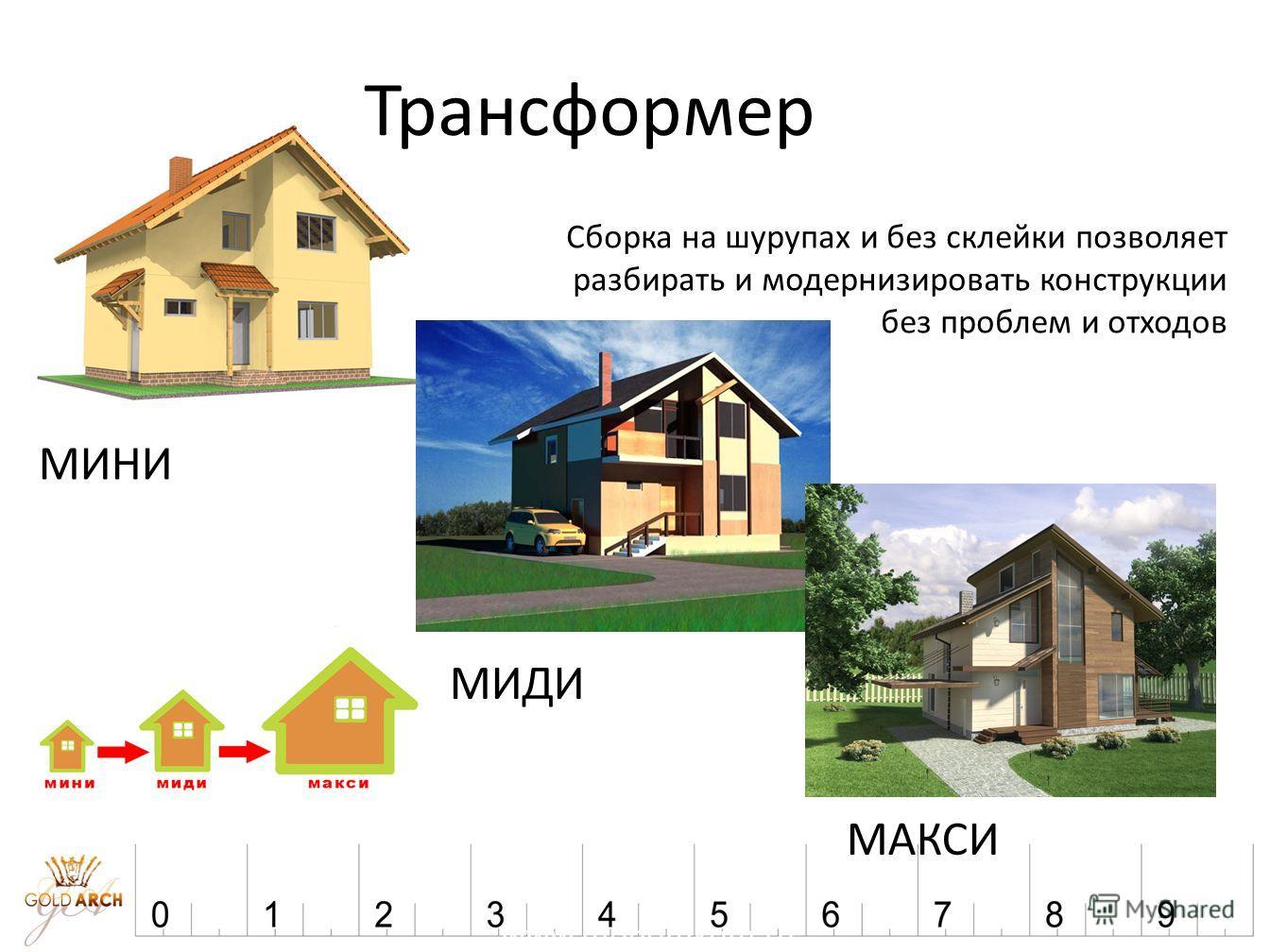 www.modomkom.ru Трансформер Сборка на шурупах и без склейки позволяет разбирать и модернизировать конструкции без проблем и отходов МИНИ МИДИ МАКСИ