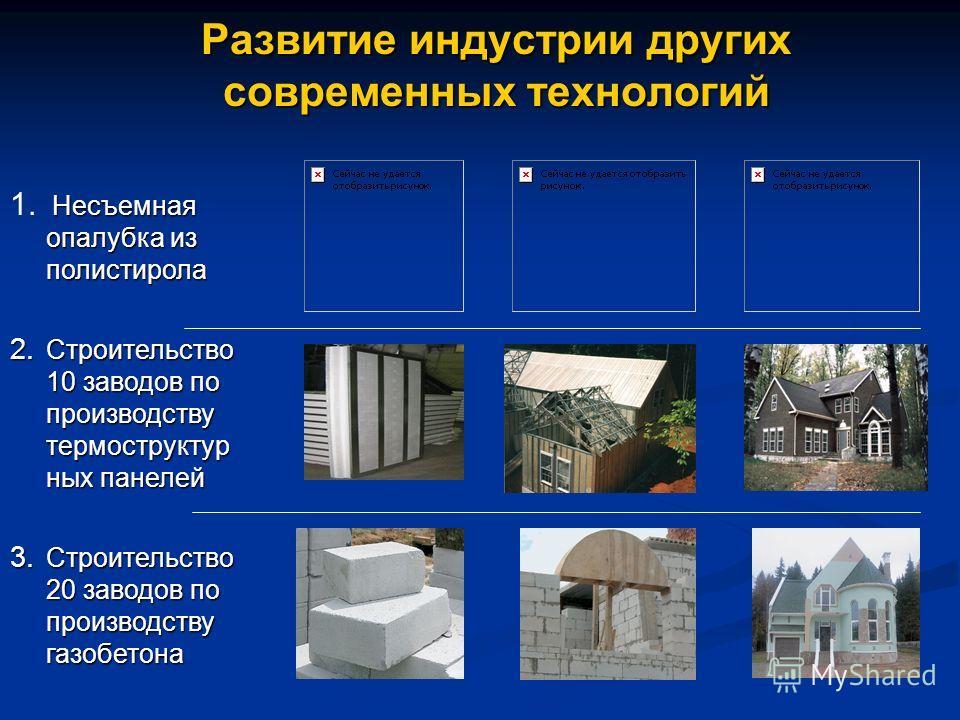 Развитие индустрии других современных технологий 2. Строительство 10 заводов по производству термоструктур ных панелей 3. Строительство 20 заводов по производству газобетона 1. Несъемная опалубка из полистирола